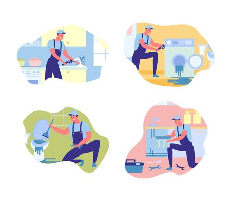 Ordinary Daily Plumbing Work on Call, Illustration. Set about Work in Field Repairing Home Appliances, Series Orders that Men Carry out Throughout Day. Troubleshooting in Bathroom and Kitchen.