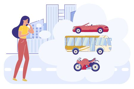 Woman Make Decision what Transport Choose in City