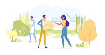 Landscape Designer Presenting Project of Beautiful Garden or Park at Cottage to Woman Owner. Worker Trimming Bushes at House Yard. Creative Profession Occupation. Cartoon Flat Vector Illustration Çizim