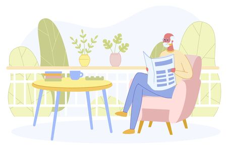 Senior Grandpa, White Haired Man Sitting in Comfortable Armchair near Table with Books and Tea Cup Reading Newspaper on Outdoors Terrace or Balcony ar Sunny Summer Day Cartoon Flat Vector Illustration