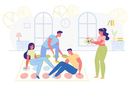 Friends Company Playing Twister at Home Flat Cartoon Vector Illustration. Fun and Joyful Time Inside. Man and Woman Putting Legs and Arms in Colorful Circles. Leisure Activity. Happy People.