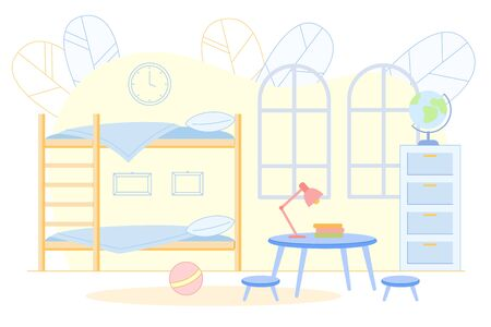 Teenagers Kids Bedroom Interior with Bunk Bed. Illustration