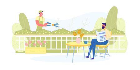 Services professionnels de jardinage et d'entretien des pelouses. Vecteurs