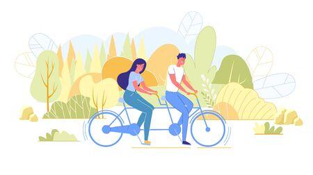 Bright Poster,Bike Ride in Park with Life Partner. Ilustración de vector