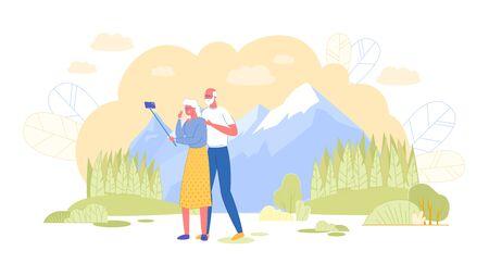 Loving Elderly Couple Making Selfie in Mountains