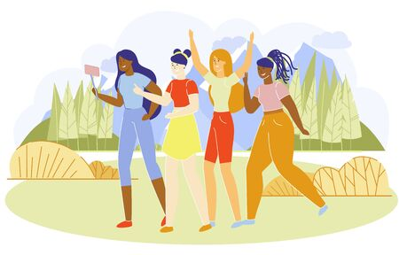 Vector Illustration Group Girl Friends Jogging. Girls Have Fun in Nature Out Big City. They Take Pictures themselves in Chamber, Take Photos Together. Around Dense Forest and High Mountains.