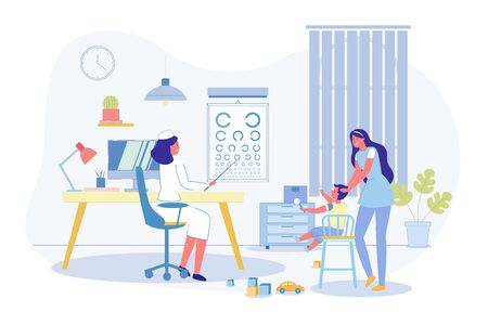 Children Vision Checkup in Ophthalmological Clinic. Cartoon Mother Visiting Kids Oculist. Doctor Ophthalmologist Conducting Test and Eyesight Examination. Consultation. Vector Flat Illustration