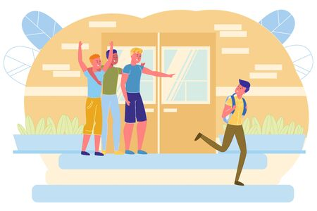 Guys Athletes Laughing at Nerd on School Porch. After School, Excellent Student Goes Home, but Hooligans Stand Behind him and Shout after him. They have Fun when Humiliate Guy and Make him Scared. Illustration