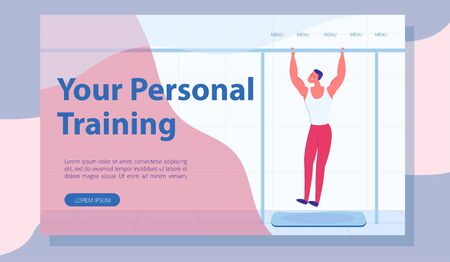 Pulling up Personal Training Cartoon Landing Page