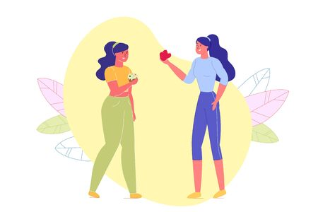 Two Girls Having Different Lifestyle Flat Cartoon Vector Illustration. Sporty Athletic Woman Eating Apple. Overweight Female Character with Sweet Cupcake. Friends Have Meeting, Communicate.