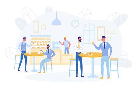 Geschäftsleute haben eine Kaffeepause oder ein Mittagessen im Café
