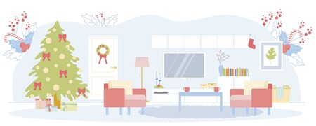 Modern Spacious Living Room Decorated for Winter Family Events. Sustainable, Functional Furniture with Simplistic Lines. Gift Boxes under Christmas Tree. Background with Red Berries and Candy Canes.