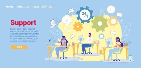 24 on 7 Insurance Company Support Hotline, Banner. Company Employees Sit at their Jobs in Cozy Atmosphere. Through Headset, they Communicate with Companys Customers and Help them Find Right Contract.