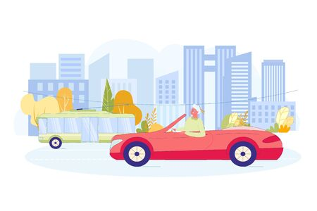 Modern Grandmother Driving Red Sports Car without Roof on City Road. Happy Smiling Old Woman behind Wheel. Cute Elderly Lady and Automobile. Summer Auto Trip. Vector Flat Cartoon Illustration