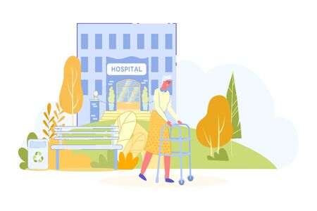 Elderly Woman Walking in Hospital Park during Hospitalization and Medical Treatment Undergoing. Senior, Retirement Age People Healthcare and Recovering after Disease. Vector Flat Cartoon Illustration. 일러스트