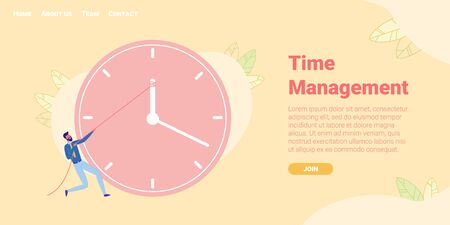 Time Management Flat Cartoon Banner Vector Illustration. Successful Organization, Working Day. Clerk or Office Worker Struggling with Deadlines, Changing Time, Countdown Concept Landing Page. Ilustrace
