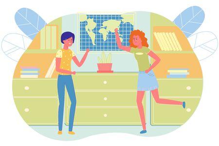 Schoolgirl Begin to Fight in Class, Flat Cartoon. Illustration