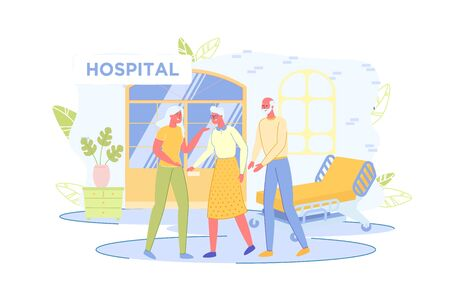 Elderly People Walking in Hospital Room or Hall, Accompanied by Relatives. Medical Treatment in Hospital - Scene with Men and Women Cartoon Characters in Ward Interior. Flat Vector Illustration.