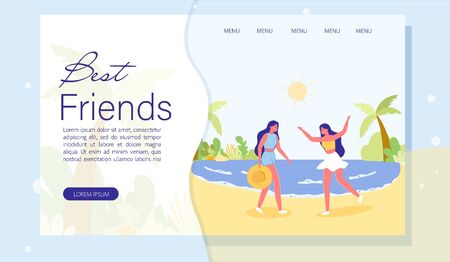Landing Page with Cartoon Women on Seacoast in Tropical Resort. Best Fiends Recreation. Summer Vacation Together. Pastime with Loving People. Beach, Sea, Palm Tree. Vector Flat Illustration