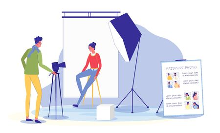 Studio with Photographer Shooting for Passport.