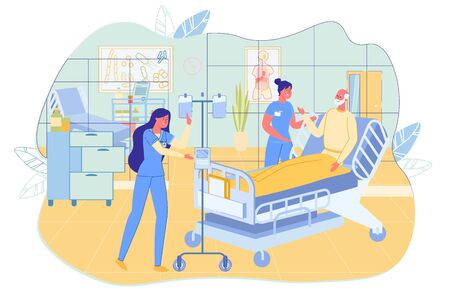 Nurse, Doctor and Senior Patient in Hospital Ward. 向量圖像
