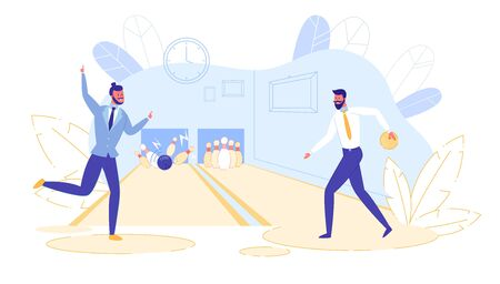 Young Happy Business Men Wearing Casual Clothing Throw Balls Hitting Perfect Strike in Bowling Alley. Professional Player at Sport Game Competition, Active Lifestyle. Cartoon Flat Vector Illustration Ilustração