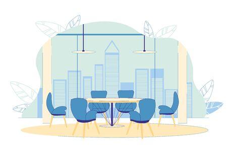 Successful Prosperous Company Spacious Office. 向量圖像