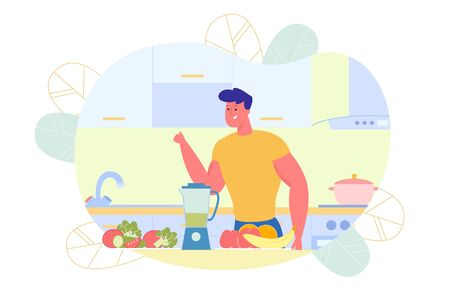 Flat Athletic Guy Preparing Vegetable Smoothie. Ilustracja
