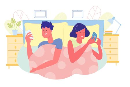 Spouses Lying in Bed and Chatting in Smartphone
