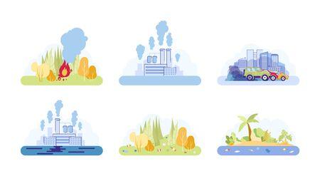Human Impact Life on Poor Environmental Condition. Stock Illustratie
