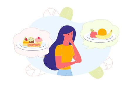 Girl Thinking about Healthy and Junk Food, Choice.