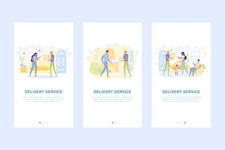 Delivery Service Set Appscreens, Ordering Parcel. Ilustracja