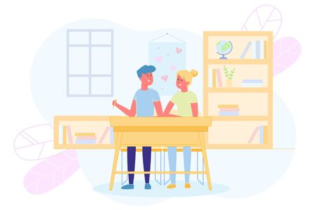 Schoolboys in Love Sit Together at Desk Classroom. Illustration