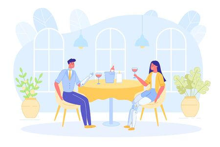 Disabled People Dating and Enjoying Recreation. Vector Illustration