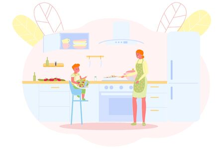 Mother Cooks with her Son in Spacious Kitchen. Ilustracja