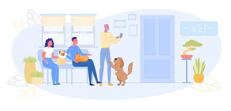Animal Patients with Owners Sitting in Corridor at Veterinarian Office Flat Cartoon Vector Illustration. Dogs and Cat Pets Having Problems with Health Waiting for Treatment. Vet Doctor. Çizim