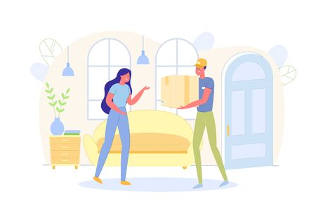 Delivery Man Bringing Big Box to Client Flat Cartoon Vector Illustration. Courier near Holding Parcel or Package. Woman Taking Cardboard Carton. Indoor Interior. Online Order Shipment. Ilustracja