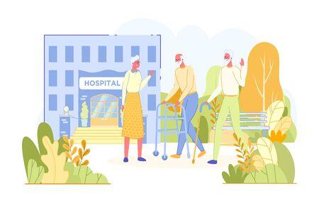 Elderly People Meet and Talk in Hospital Park. Ilustración de vector