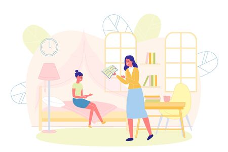 Teenager Girl Sitting on Bed in her Room and Mother Holding Diary with Bad Grades and Swearing Flat Cartoon Vector Illustration. Daughter Does not Studying Well at School. Amngry Mom.