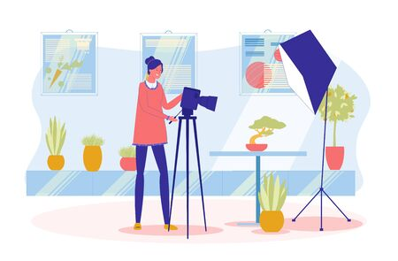 Professional Photographer or Photo Artist, Woman Cartoon Character Shooting Plants for Advertising and Magazines. Photographing and Creative Occupation - Working Process. Flat Vector Illustration.
