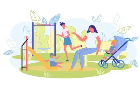 Pregnant Woman Walking with Children at Playground. Mom Looks after Kids while they Entertain Outside. Older Daughter Want to Ride on Swing, Youngest Descended Slide, Little Son Sitting in Stroller.  イラスト・ベクター素材