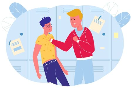 In School Corridor Bully Mocks Four-eyes Classmate. Stronger Boy Pressed his Classmate to Lockers and Holds him by Turn his Shirt. Student Distracted and does not Try to Escape, Vector Illustration. Illustration