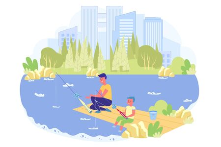 Brothers are Fishing in Beautiful Park with Pond.