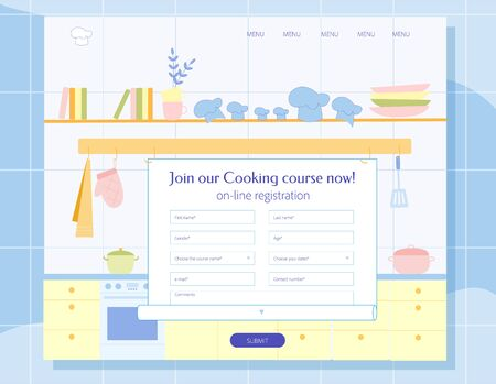 Cooking Course for Adults and Children Online Registration Blank Design. Culinary Master Classes, Increasing Skills in Preparing Dishes and Desserts Advertisement. Flat Cartoon Vector Illustration.