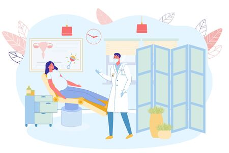 Pregnant Girl Regular Visits to Gynecologist. Woman Lies on Couch in Doctors Office, Man is Dressed in Special Clothes, Gloves and Respirator. On Wall Hangs Information Poster and Clock.