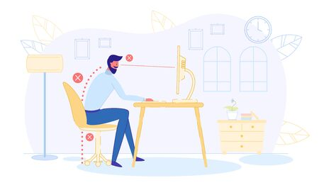 Ergonomic Concept, Office Worker in Wrong Pose. Stock Illustratie