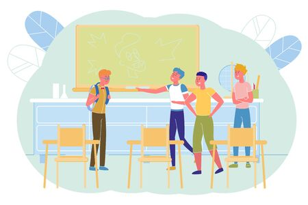 School, Hooligans Company Excellent Student. After Lesson in Class, Popular Boys Waited for an Outcast. They Ugly Draw him on Blackboard and Laugh at his Appearance, he Wears Glasses. Illustration