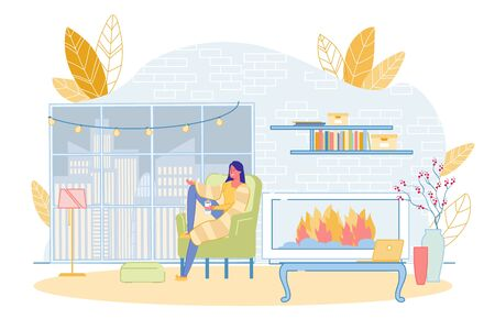 Girl Wrapped in Warm Blanket Holding Hot Coffee Cup Sitting in Soft Armchair by Fireplace in Living Room at Home. Young Woman Enjoy City Landscape View from Window. Romantic Atmosphere Illustration