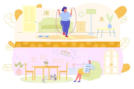 Overweight Girl goes in for Sports in Apartment. Room above, Fat Girl is Jumping Rope. Chandelier Shakes in Apartment Below, Dog hid under Table, Grandmother in Chair with Newspaper Looks Up.