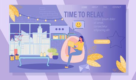 Young Woman Chatting in Social Media Network via Laptop. Online Communication and Virtual Relationship. Time to Relax in Night Chat and Blogging. Landing Page Design. Vector Illustration